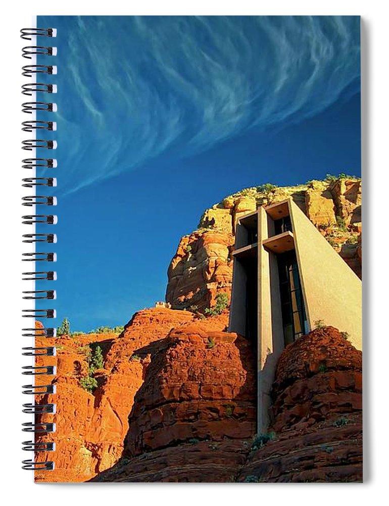 Chapel Of The Holy Cross Spiral Notebook featuring the photograph Chapel of the Holy Cross, Sedona, Arizona by Zayne Diamond Photographic
