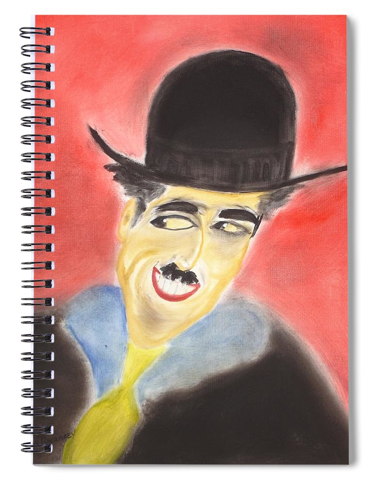 Cinema Film Spiral Notebook featuring the painting Chaplin by Roger Cummiskey