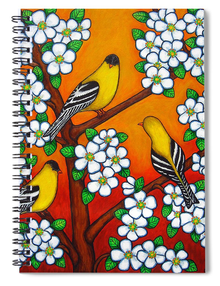 Goldfinch Spiral Notebook featuring the painting Chardonnay Sunset by Lisa Lorenz