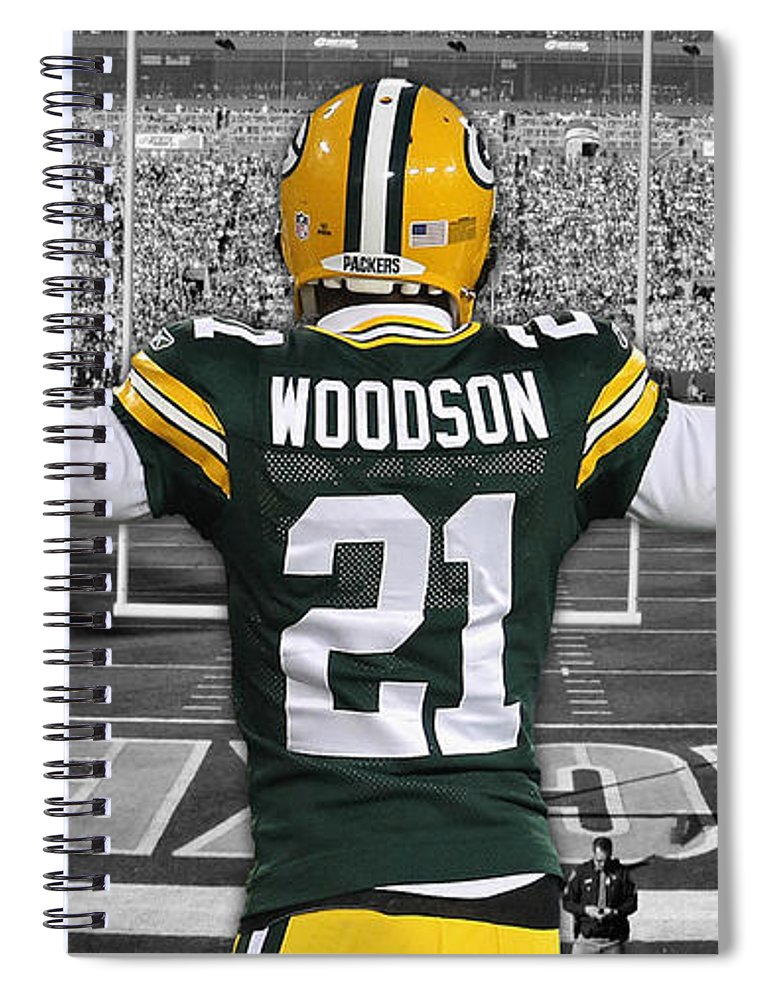 online retailer aaad3 f6872 Charles Woodson Green Bay Packers Stadium Art 2 Spiral Notebook