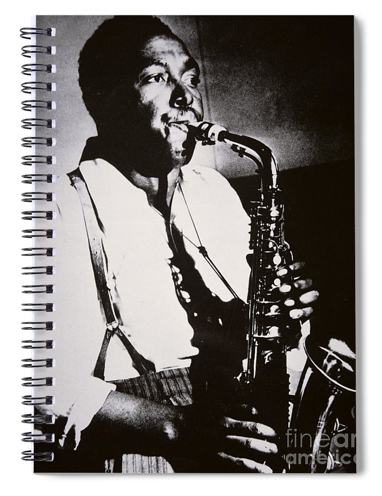 Male; Half Length; Saxophone; Musician; Musical; Instrument; Music; Black; Negro; African American; African-american; Portrait; Jazz; Saxophonist; Braces; Composer; Nickname Yardbird; Bird; Virtuoso; Suspenders; Entertainment Spiral Notebook featuring the photograph Charlie Parker by American School