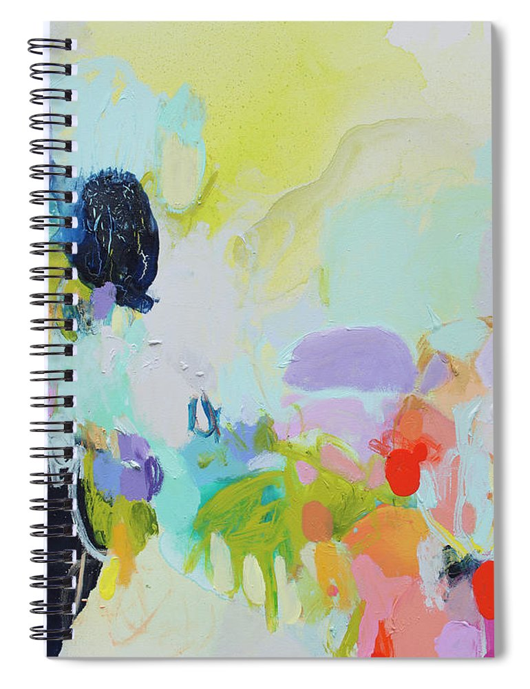 Abstract Spiral Notebook featuring the painting Chartreuse Stop by Claire Desjardins