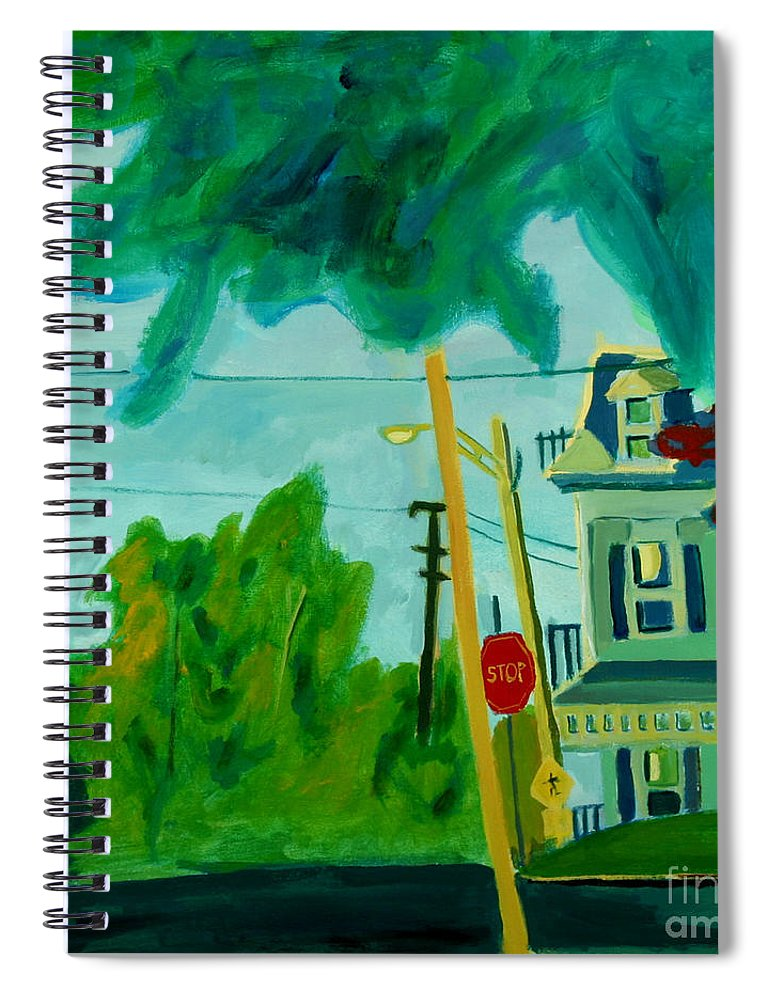 Chelmsford Spiral Notebook featuring the painting Chelmsford Center by Debra Bretton Robinson