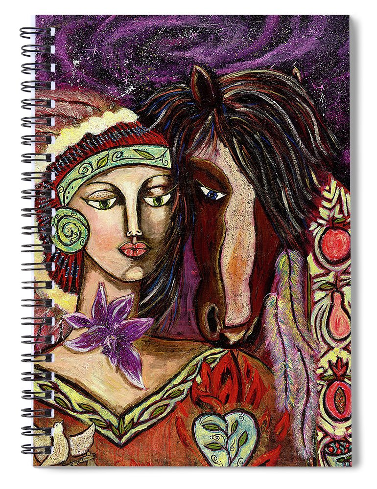 Intentional Creativity Spiral Notebook featuring the painting Chenoa by Evelyne Verret