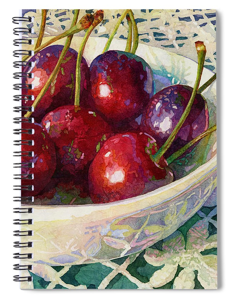 Cherry Spiral Notebook featuring the painting Cherries Jubilee by Hailey E Herrera
