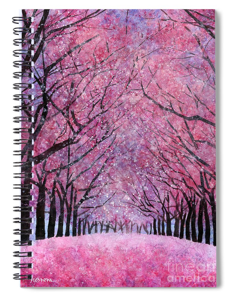 Cherry Blossom Spiral Notebook featuring the painting Cherry Blast by Hailey E Herrera