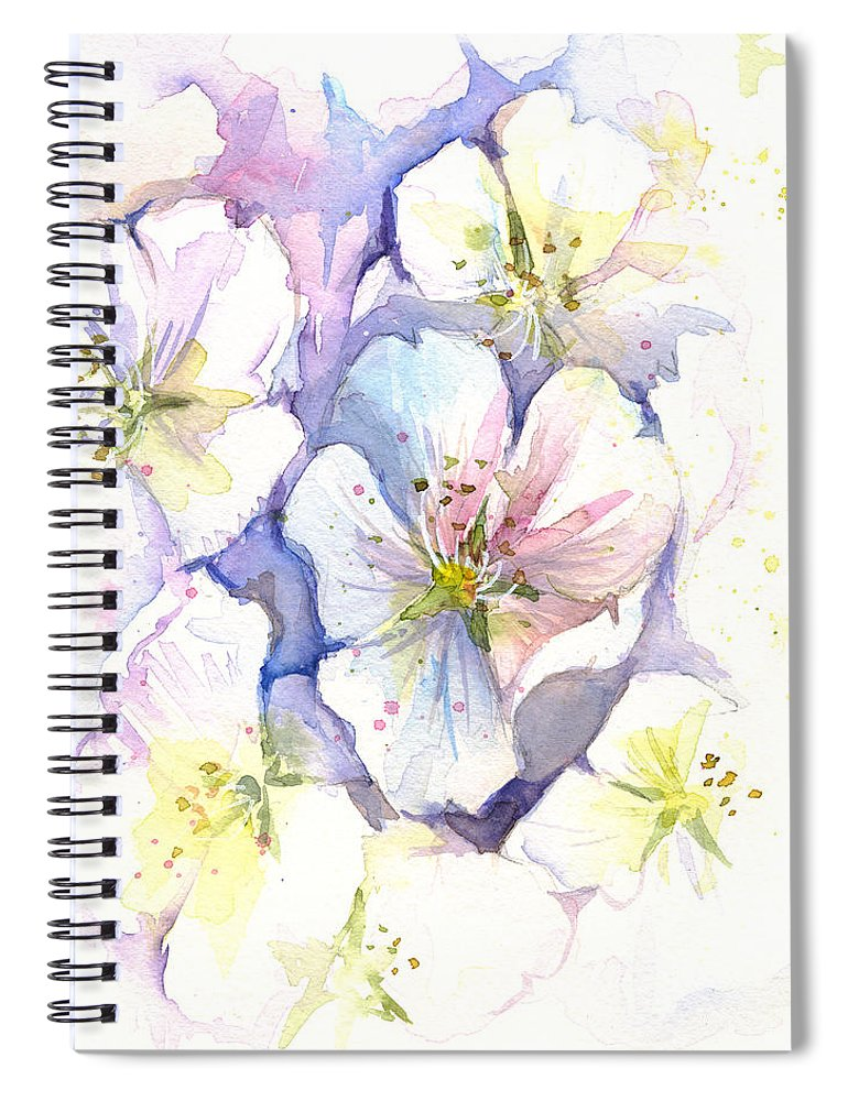Cherry Blossom Spiral Notebook featuring the painting Cherry Blossoms Watercolor by Olga Shvartsur