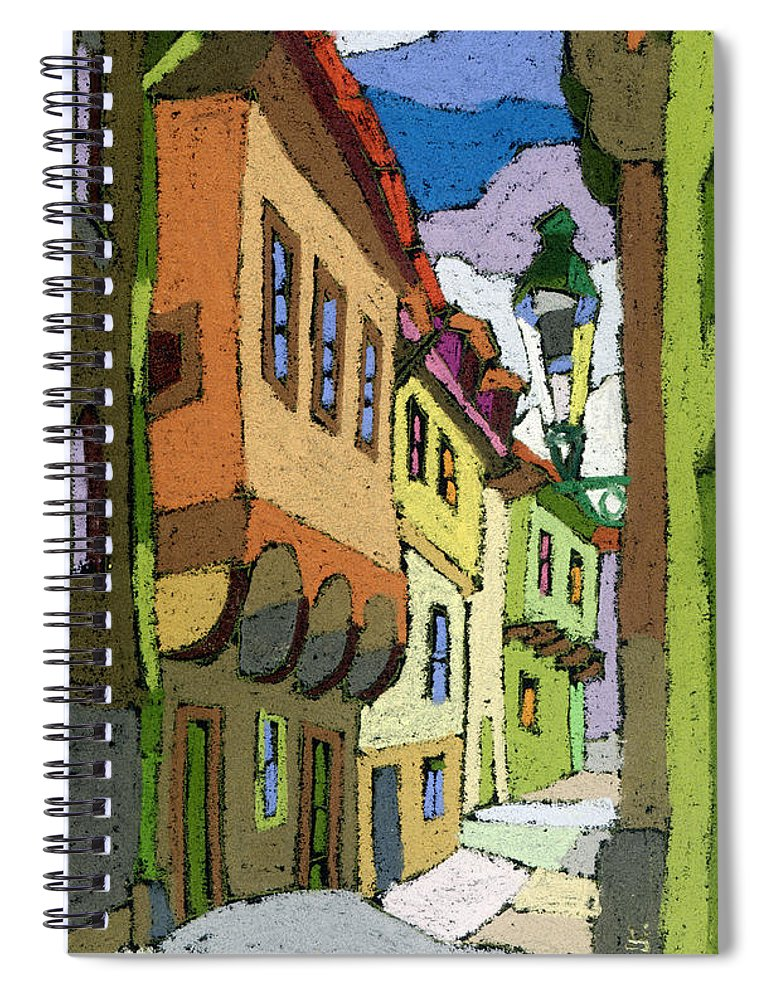 Pastel Spiral Notebook featuring the painting Chesky Krumlov Street Nove Mesto by Yuriy Shevchuk