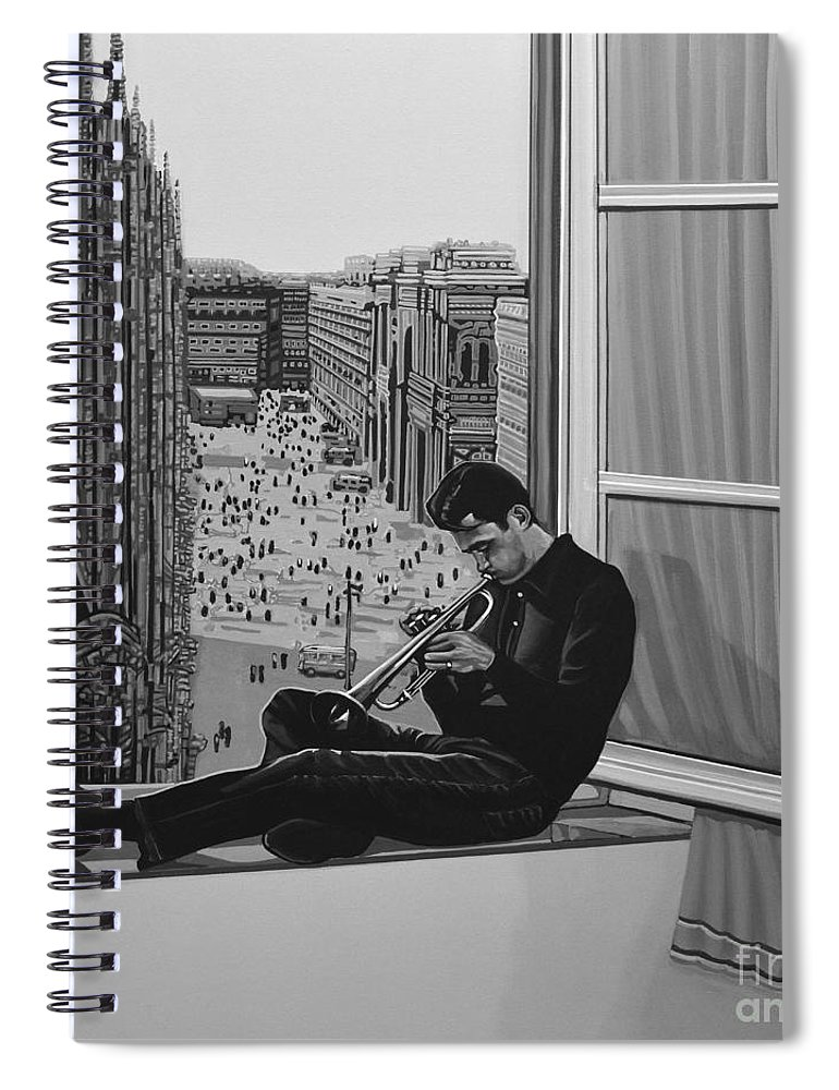 Chet Baker Spiral Notebook featuring the painting Chet Baker by Paul Meijering