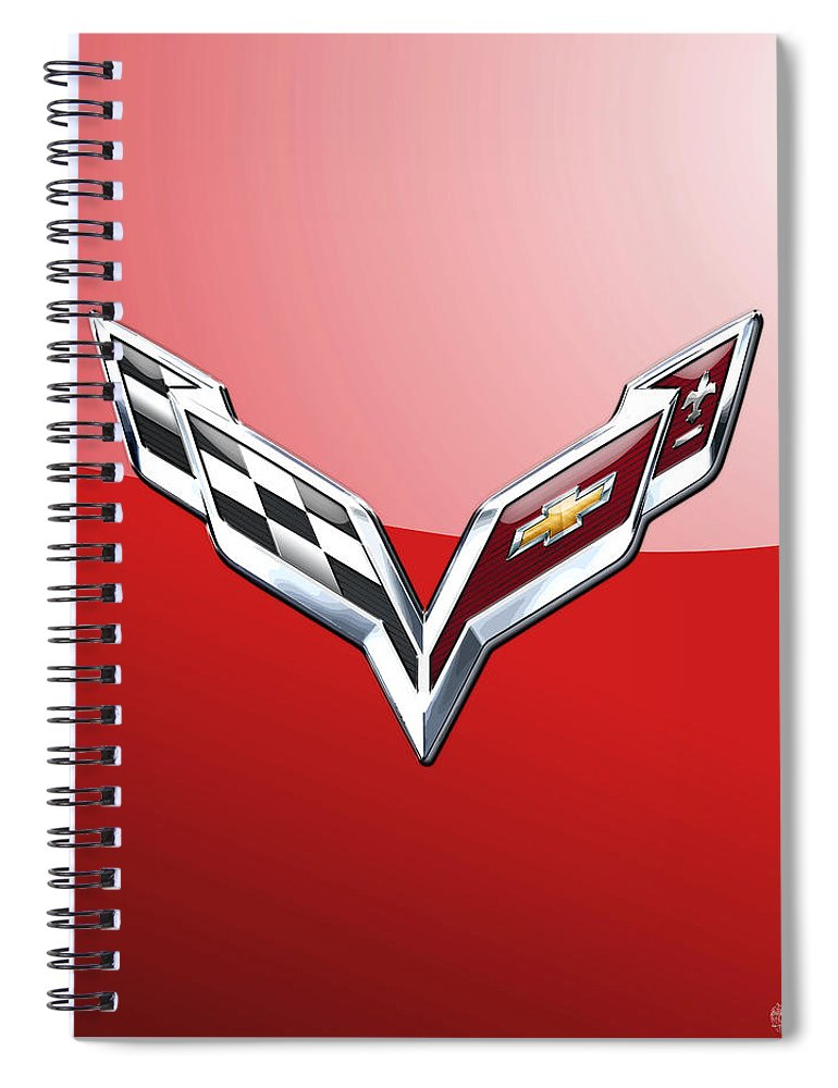 'wheels Of Fortune' Collection By Serge Averbukh Spiral Notebook featuring the photograph Chevrolet Corvette - 3d Badge On Red by Serge Averbukh