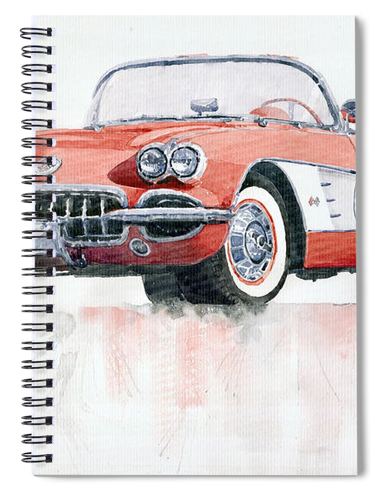 Watercolor Spiral Notebook featuring the painting Chevrolet Corvette C1 1960 by Yuriy Shevchuk