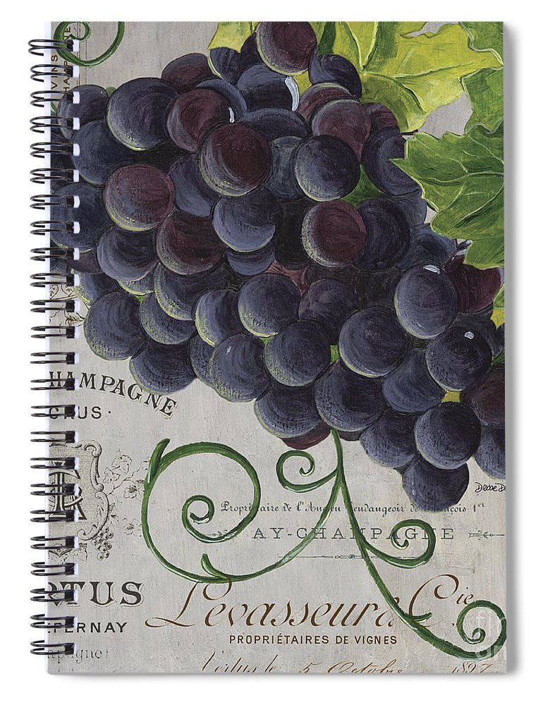 Grapes Spiral Notebook featuring the painting Vins de Champagne 2 by Debbie DeWitt