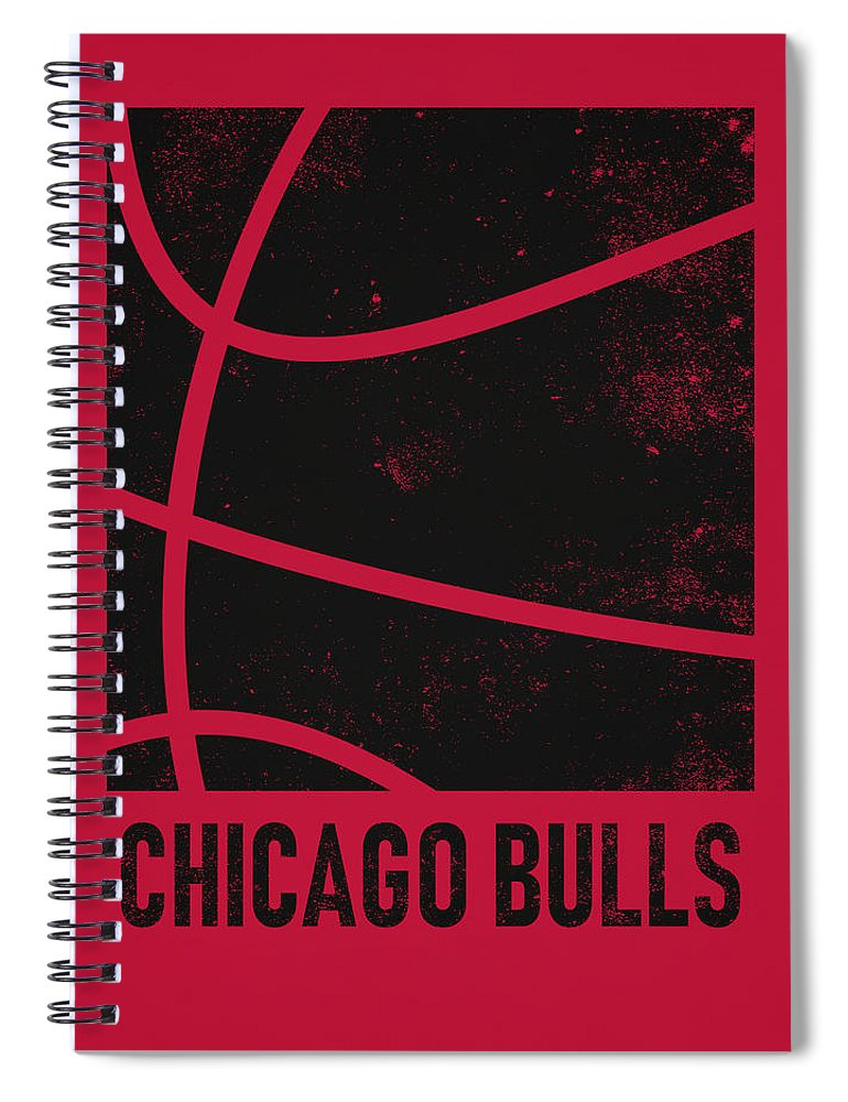 Bulls Spiral Notebook featuring the mixed media Chicago Bulls City Poster Art 2 by Joe Hamilton
