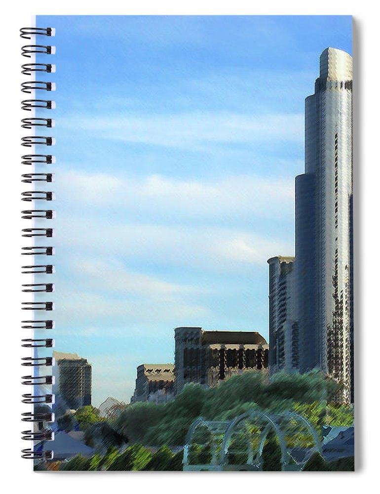 City Spiral Notebook featuring the digital art Chicago cityscape by Steve Karol