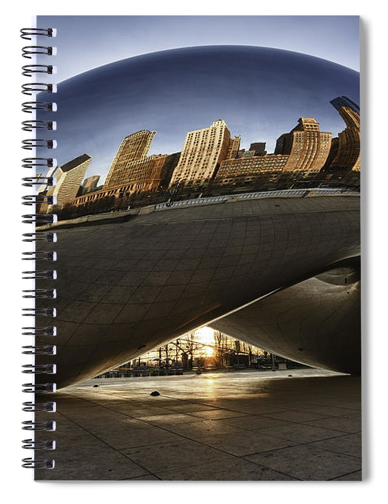 Chicago Cloud Gate Spiral Notebook featuring the photograph Chicago Cloud Gate At Sunrise by Sebastian Musial