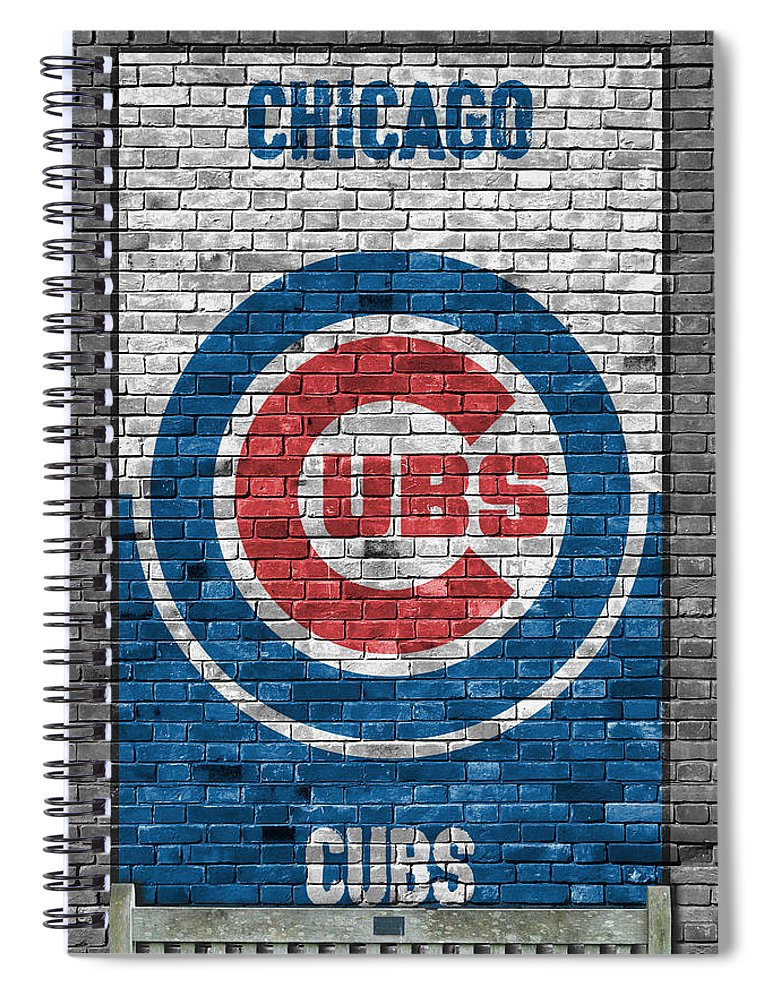Cubs Spiral Notebook featuring the painting Chicago Cubs Brick Wall by Joe Hamilton