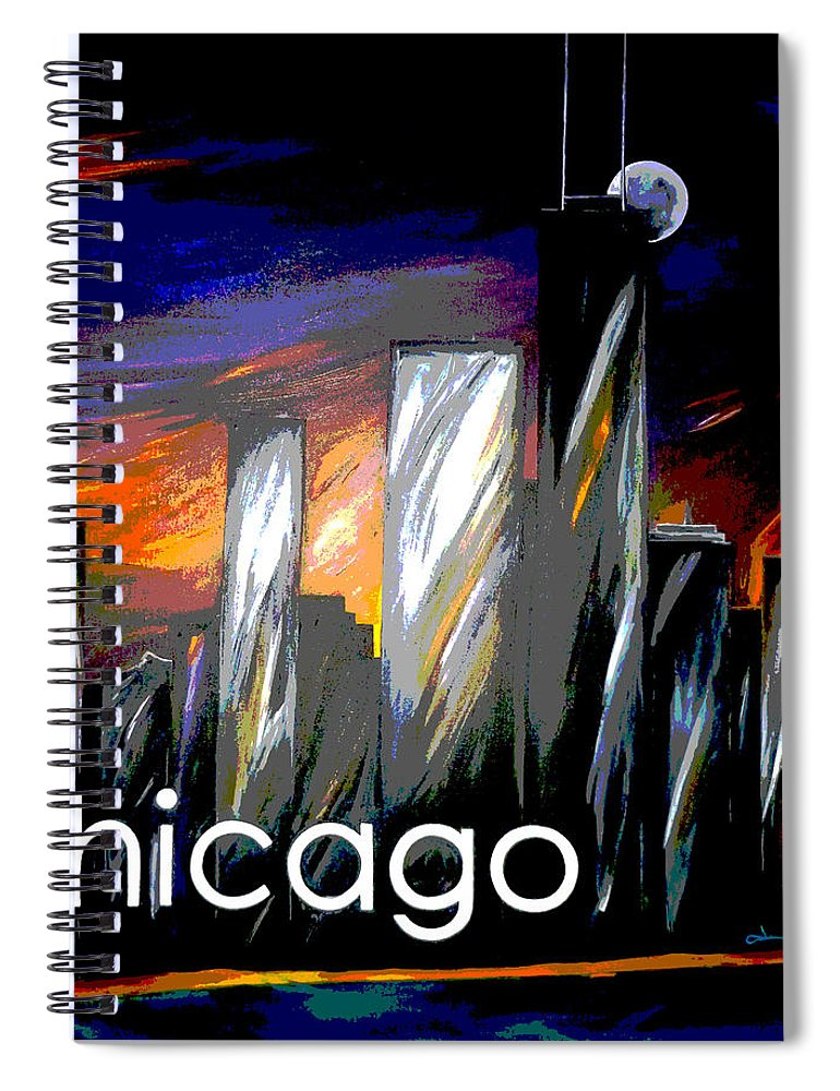 Chicago Spiral Notebook featuring the painting Chicago Night Skyline by Jean Habeck