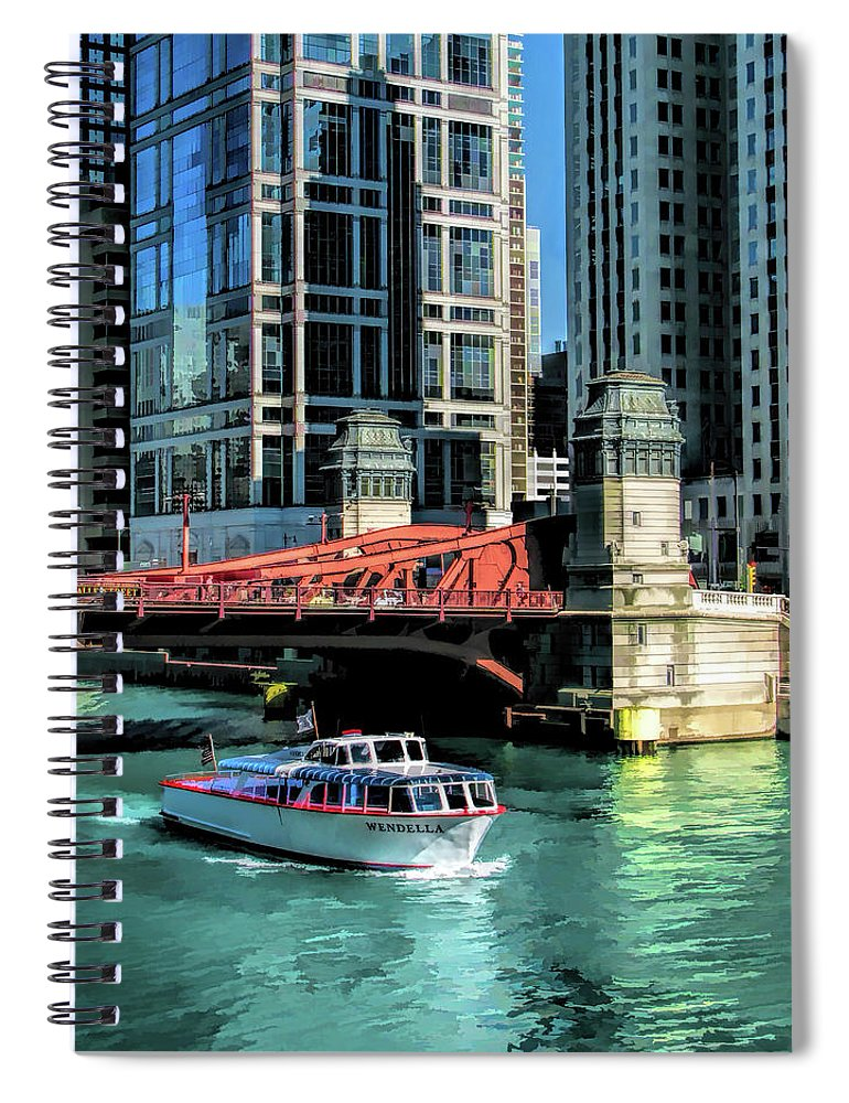 Chicago Spiral Notebook featuring the painting Chicago Wendella Boat Tours by Christopher Arndt