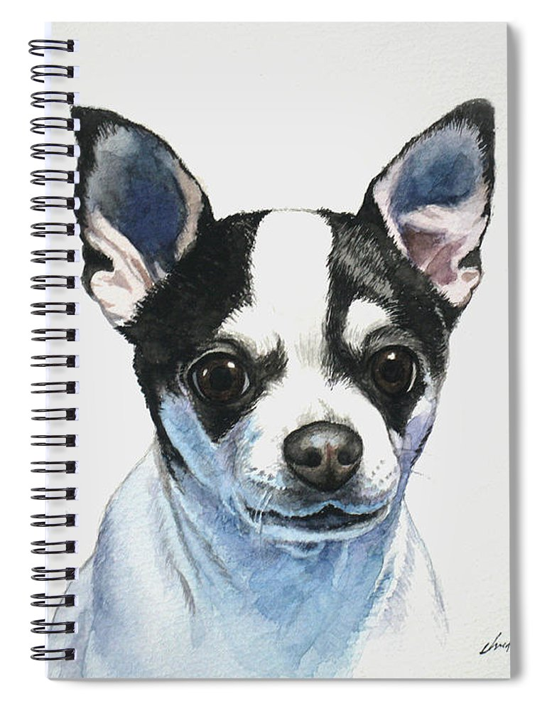 Chihuahua Spiral Notebook featuring the painting Chihuahua Black Spots With White by Christopher Shellhammer