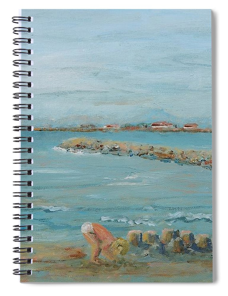 Beach Spiral Notebook featuring the painting Child Playing at Provence Beach by Nadine Rippelmeyer