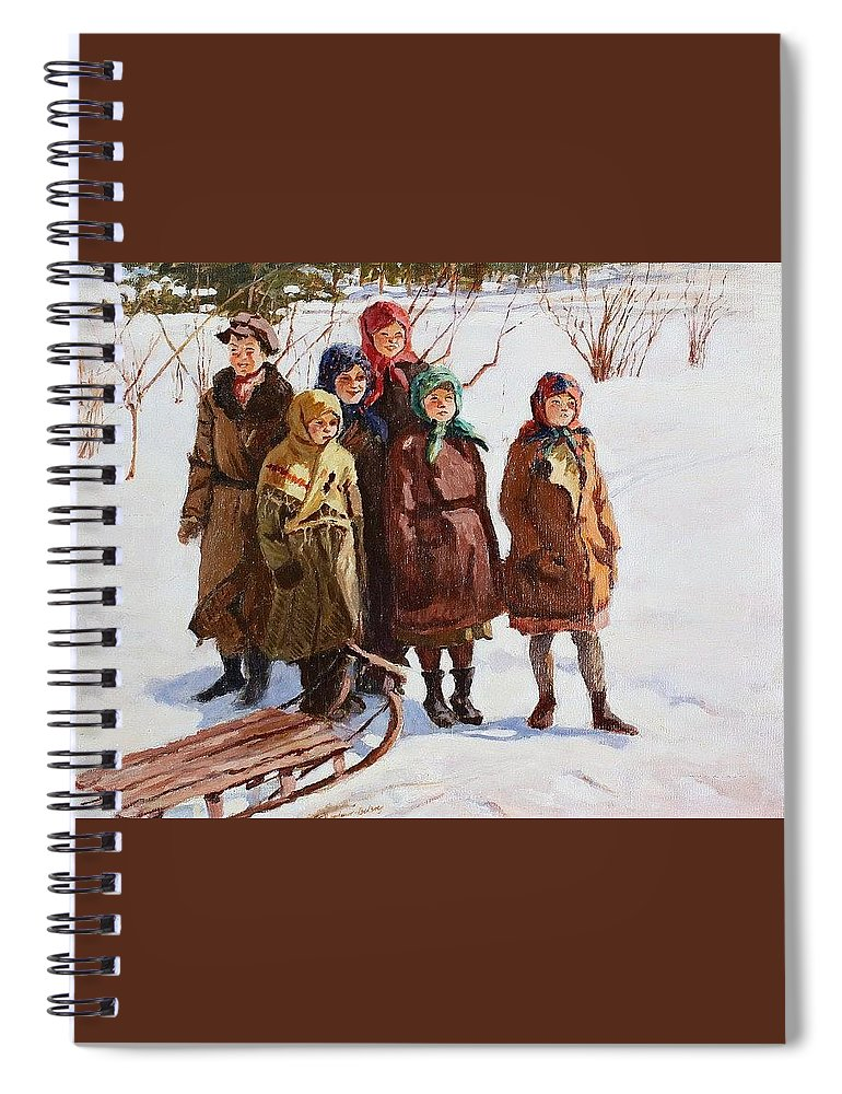 Snow Spiral Notebook featuring the digital art Children With A Sled Nikolai Petrovich Bogdanov-belsky by Eloisa Mannion