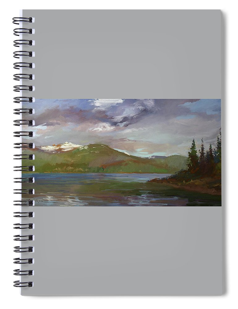 Murals Spiral Notebook featuring the painting Chimney Rock at Priest Lake Plein Air by Betty Jean Billups