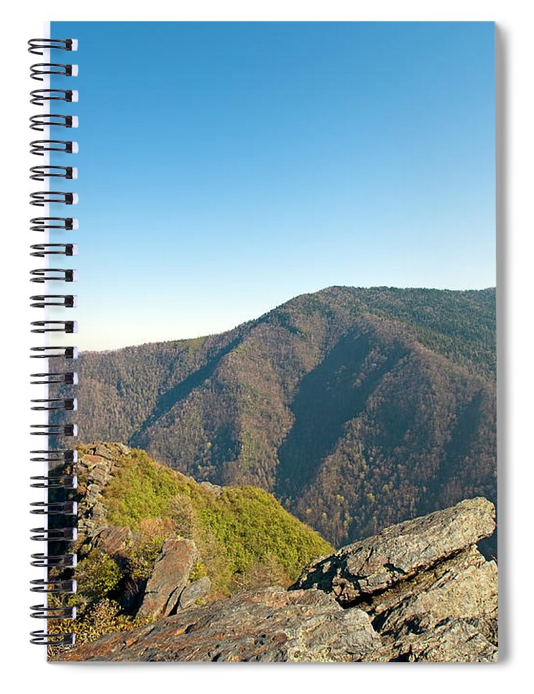 chimney Tops Spiral Notebook featuring the photograph Chimney Tops Vista In Great Smoky Mountain National Park Tennessee by Brendan Reals