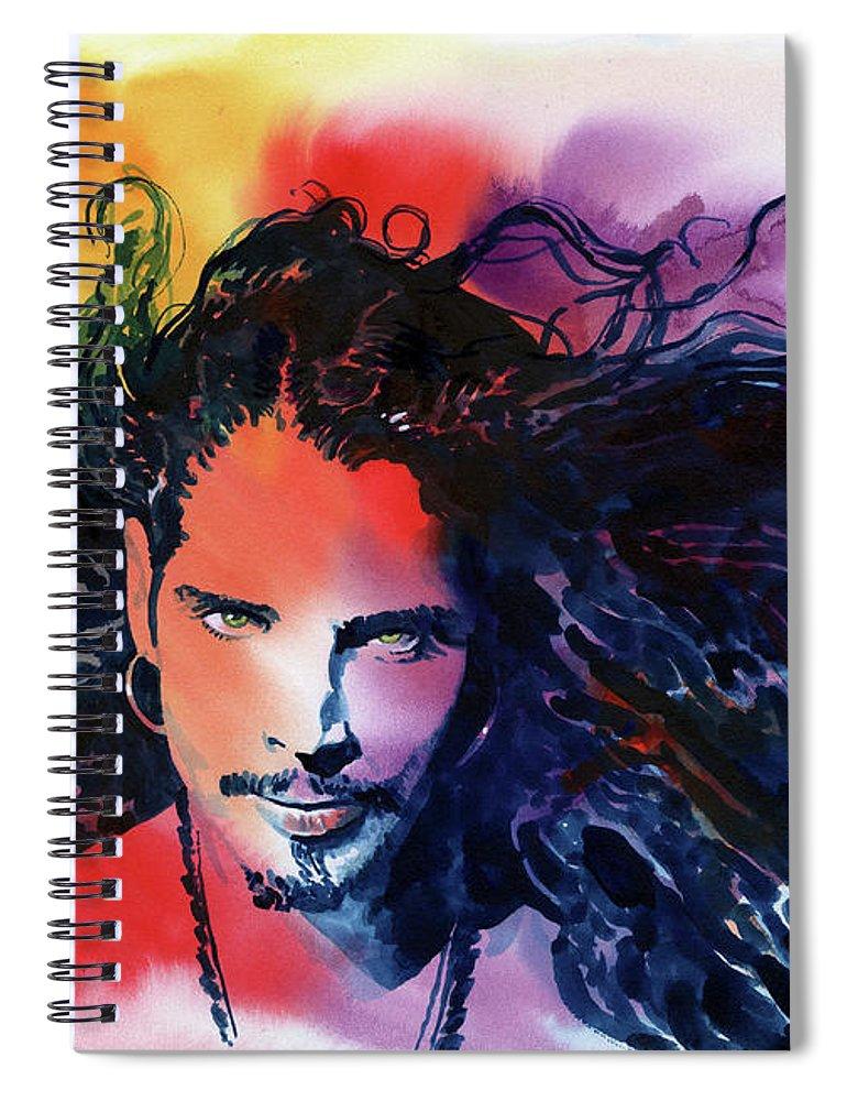 Soundgarden Spiral Notebook featuring the painting Chris Cornell by Ken Meyer jr
