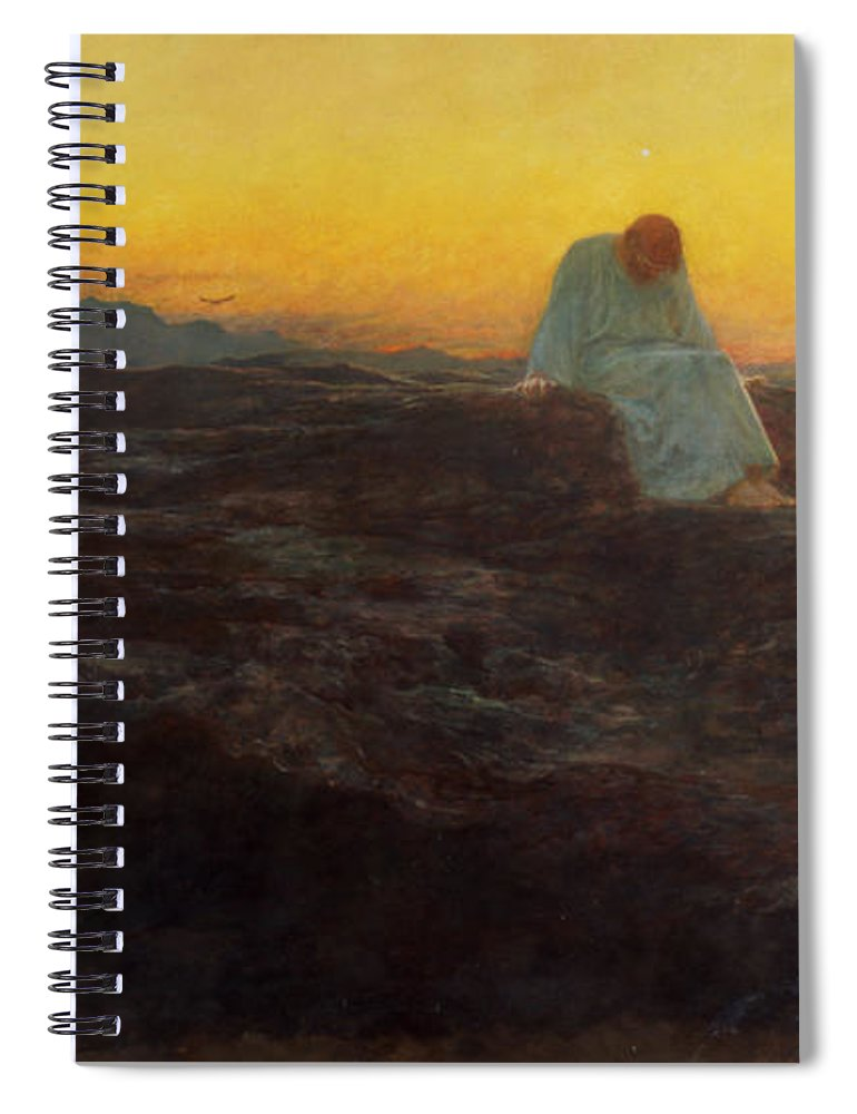 Christ In The Wilderness Spiral Notebook featuring the painting Christ In The Wilderness by Briton Riviere
