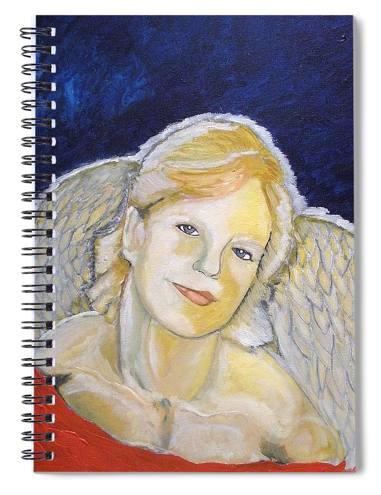 Angel Spiral Notebook featuring the painting Christmas Angel  finished by J Bauer