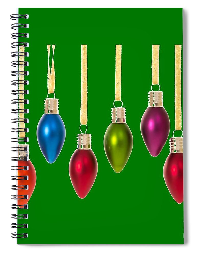Christmas Spiral Notebook featuring the digital art Christmas Baubles Tee by Edward Fielding