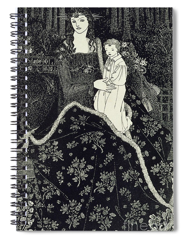 Christmas Card Spiral Notebook for Sale by Aubrey Beardsley
