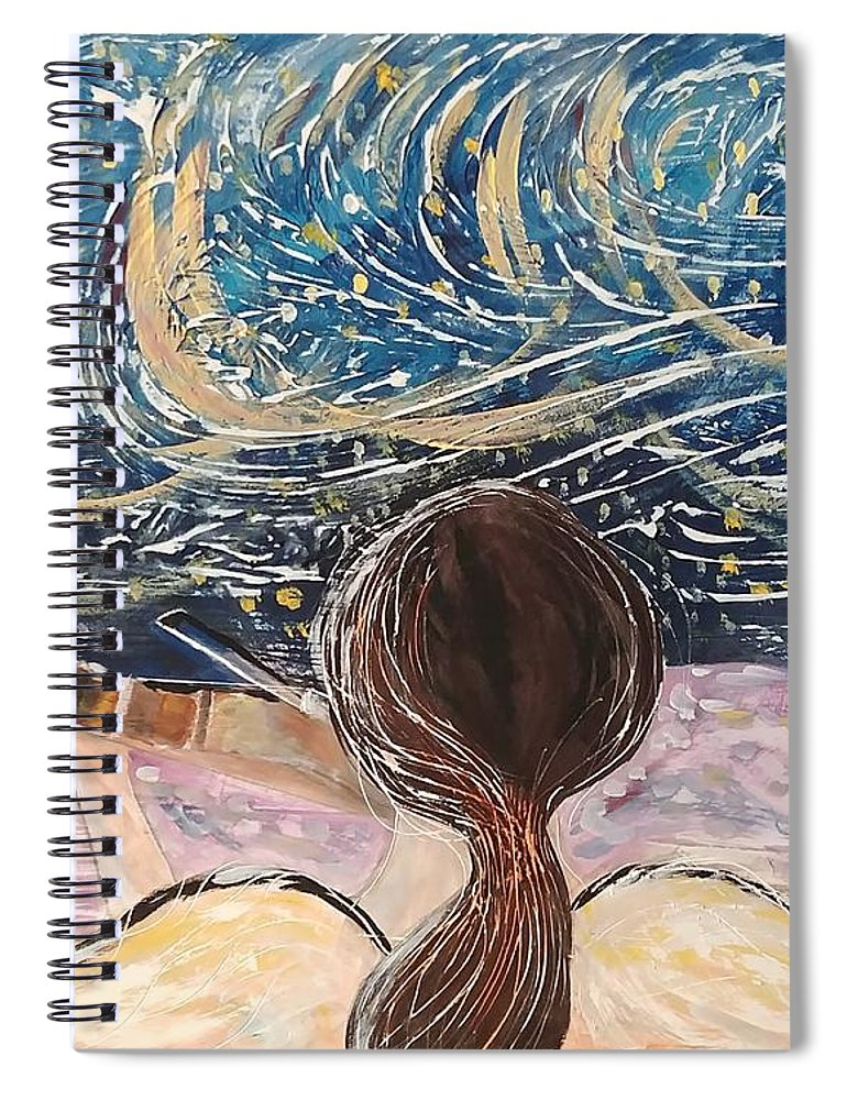 Angel Spiral Notebook featuring the painting christmas Eve and a Starry Night by J Bauer