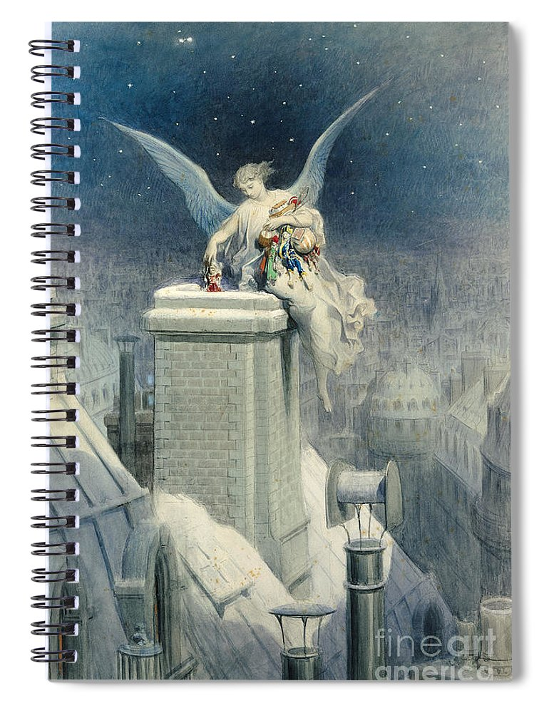 Christmas Spiral Notebook featuring the painting Christmas Eve by Gustave Dore