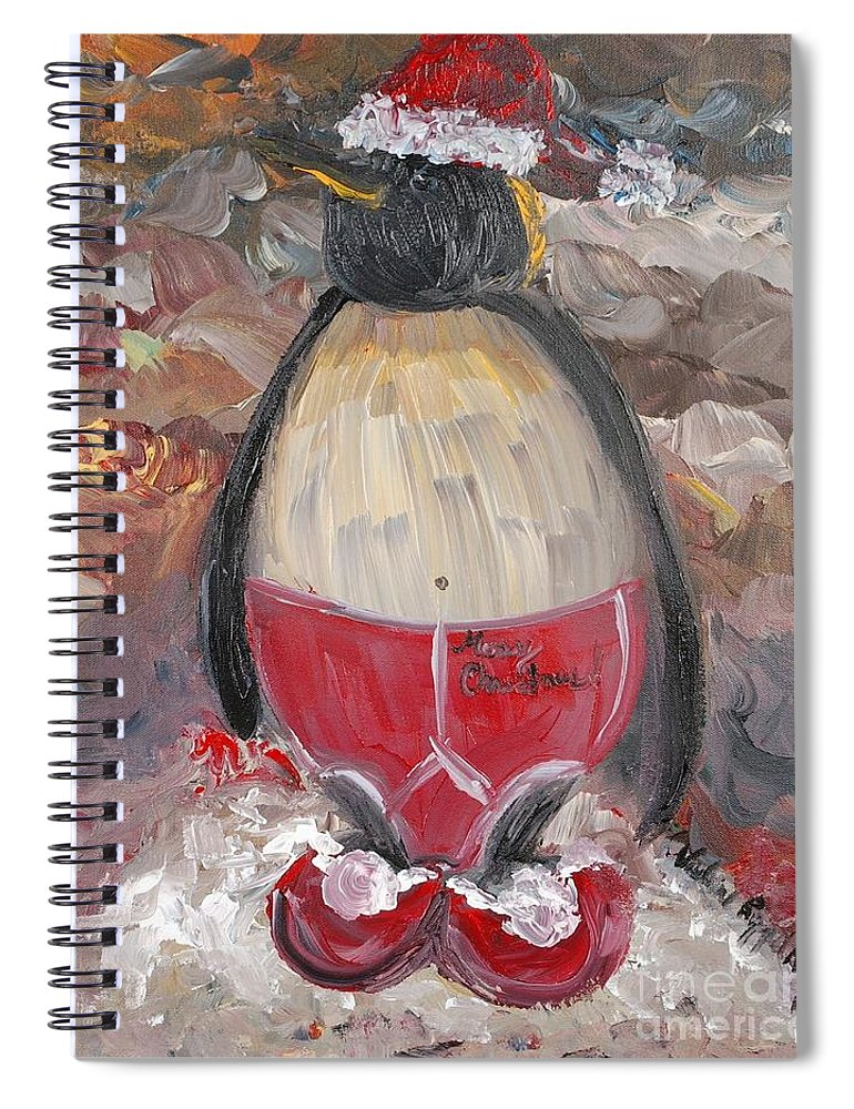 Penguin Spiral Notebook featuring the painting Christmas Penguin by Nadine Rippelmeyer