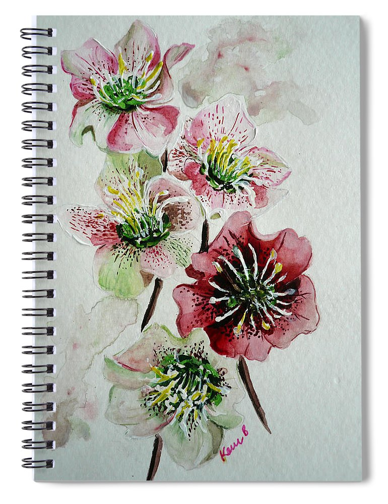 Floral Flower Pink Spiral Notebook featuring the painting Christmas Rose by Karin Dawn Kelshall- Best