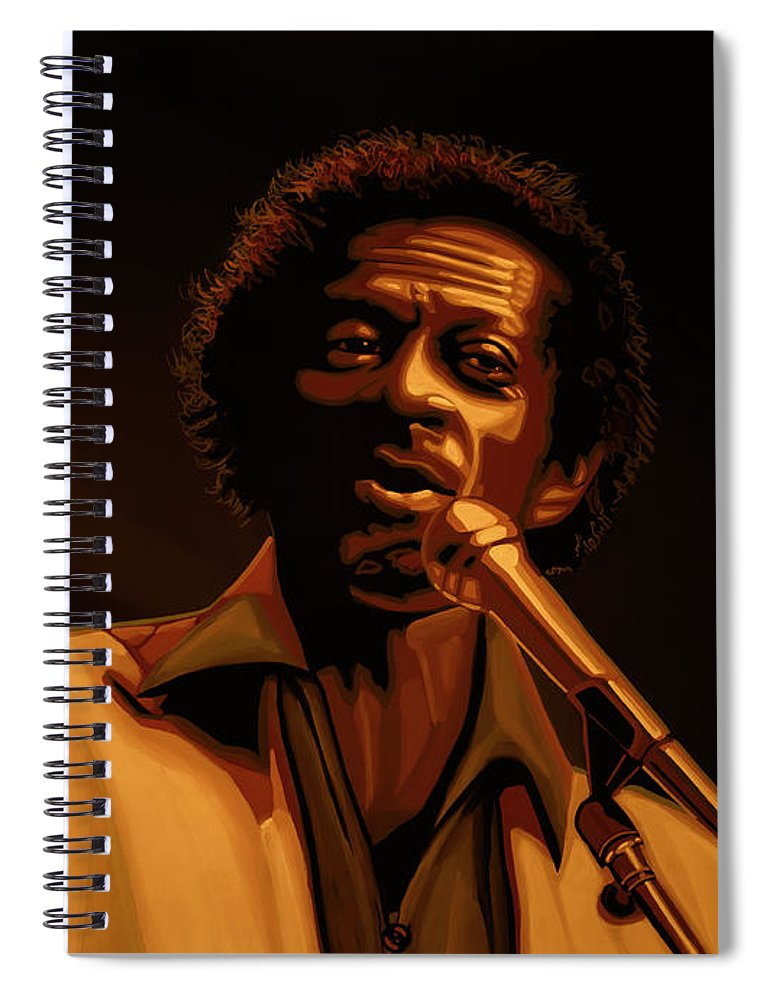 Chuck Berry Spiral Notebook featuring the mixed media Chuck Berry Gold by Paul Meijering