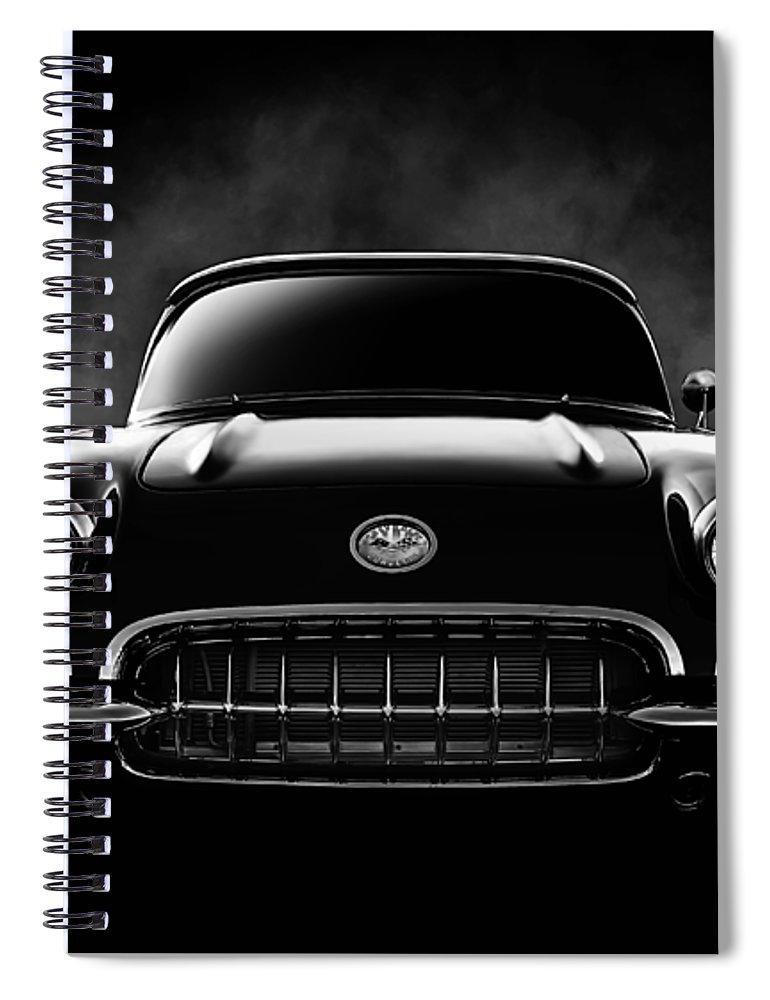 Corvette Spiral Notebook featuring the digital art Circa '59 by Douglas Pittman