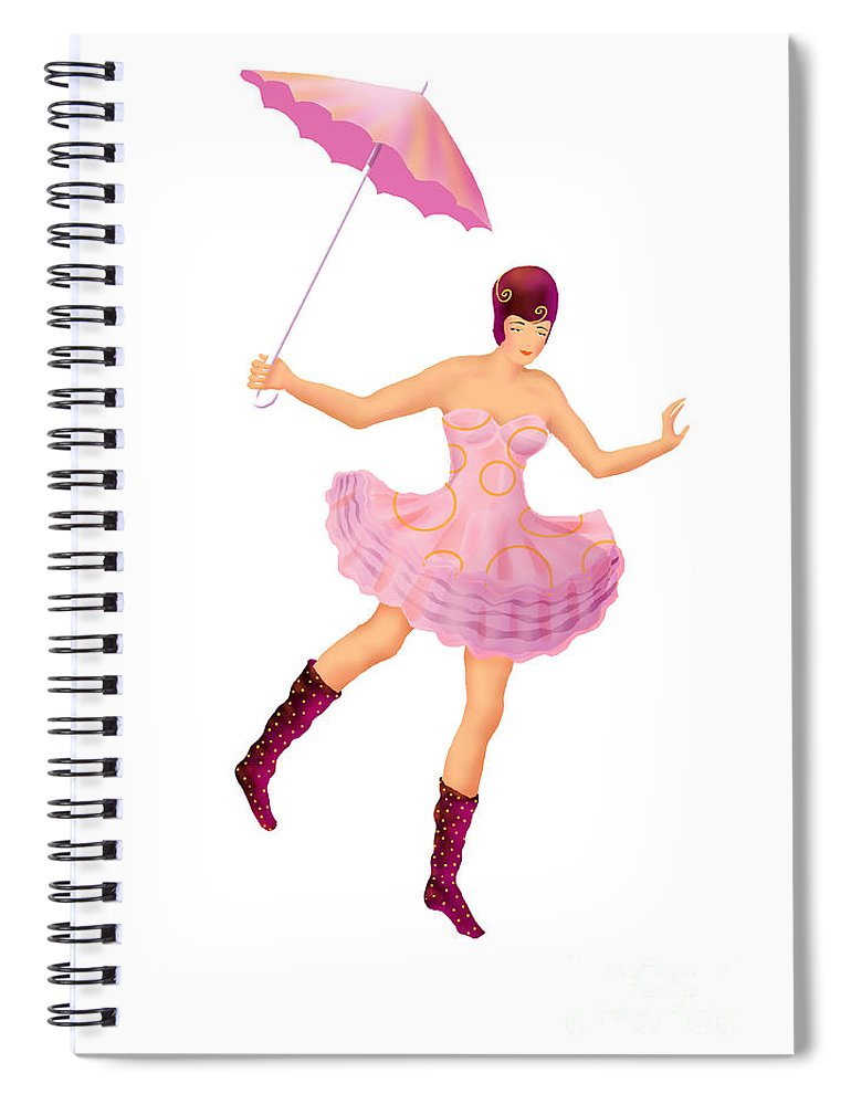 Ballerina Spiral Notebook featuring the digital art Circus 3 by Ursula Koehrer