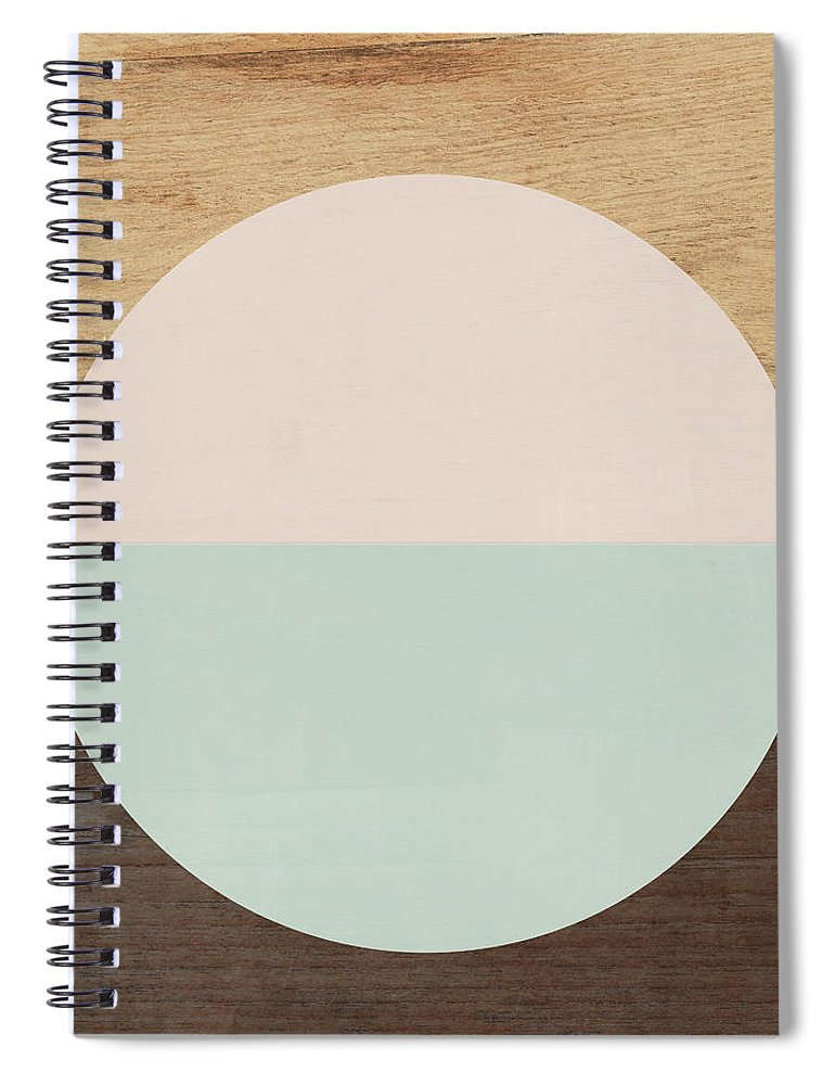 Modern Spiral Notebook featuring the mixed media Cirkel in Peach and Mint- Art by Linda Woods by Linda Woods