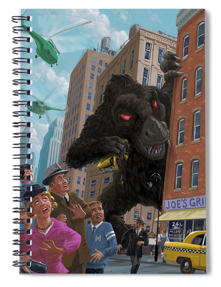 City Spiral Notebook featuring the digital art City Invasion Furry Monster by Martin Davey