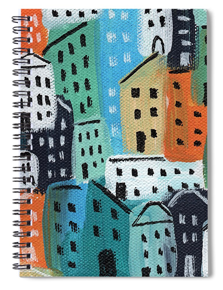 City Spiral Notebook featuring the painting City Stories- Blue And Orange by Linda Woods