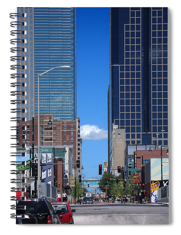 Kansas City Spiral Notebook featuring the photograph City Street Canyon by Steve Karol