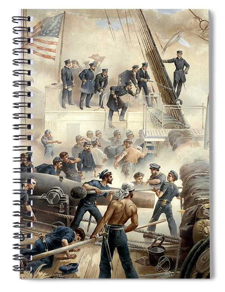 Civil War Spiral Notebook featuring the painting Civil War Naval Battle by War Is Hell Store