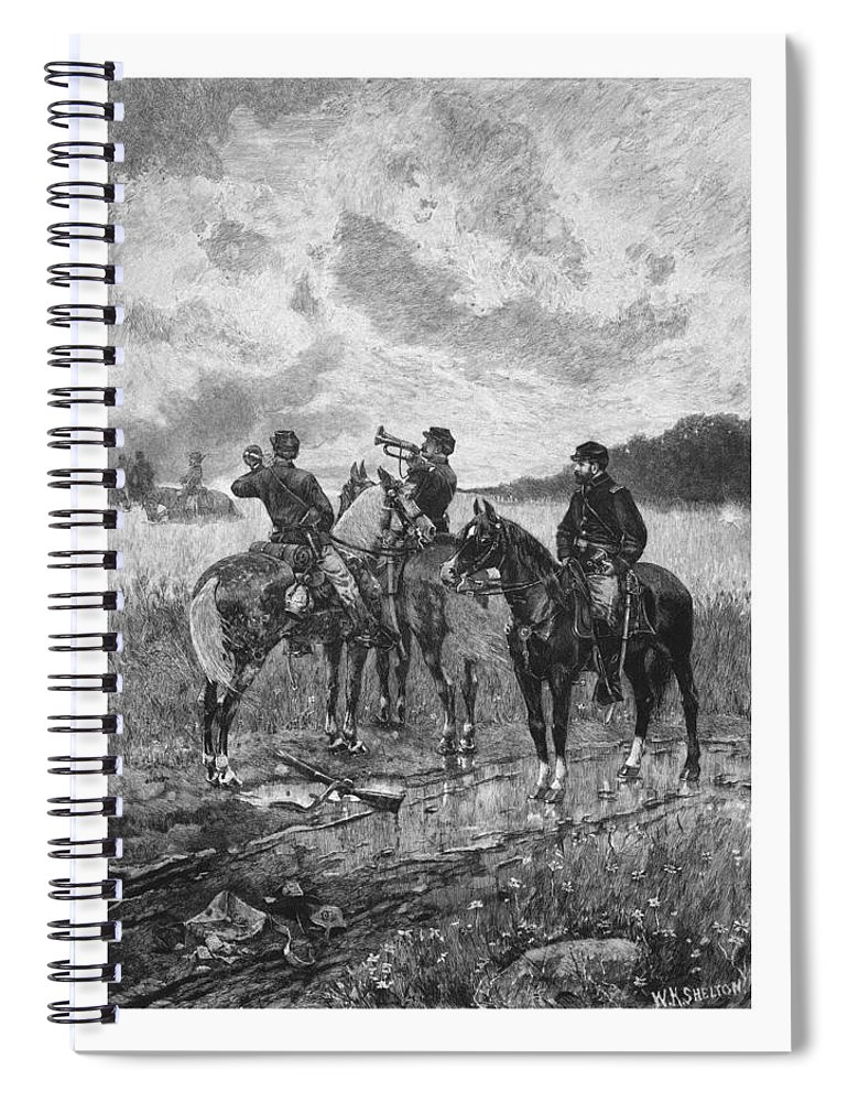 Civil War Spiral Notebook featuring the mixed media Civil War Soldiers On Horseback by War Is Hell Store