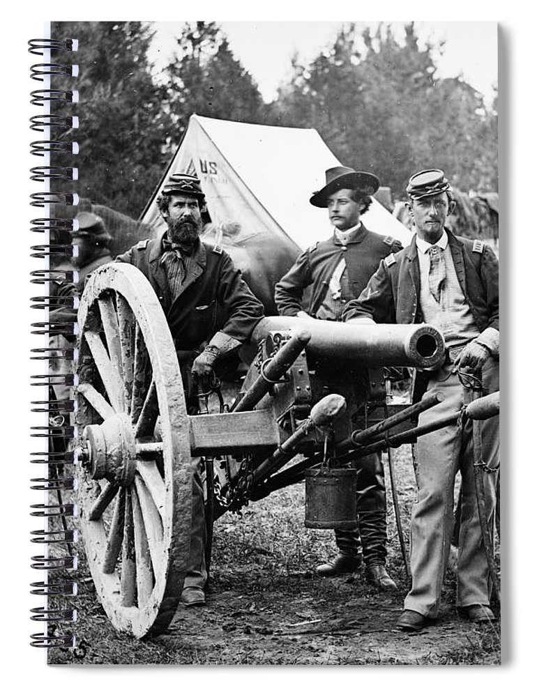 1862 Spiral Notebook featuring the photograph Civil War - Union Officers by Granger