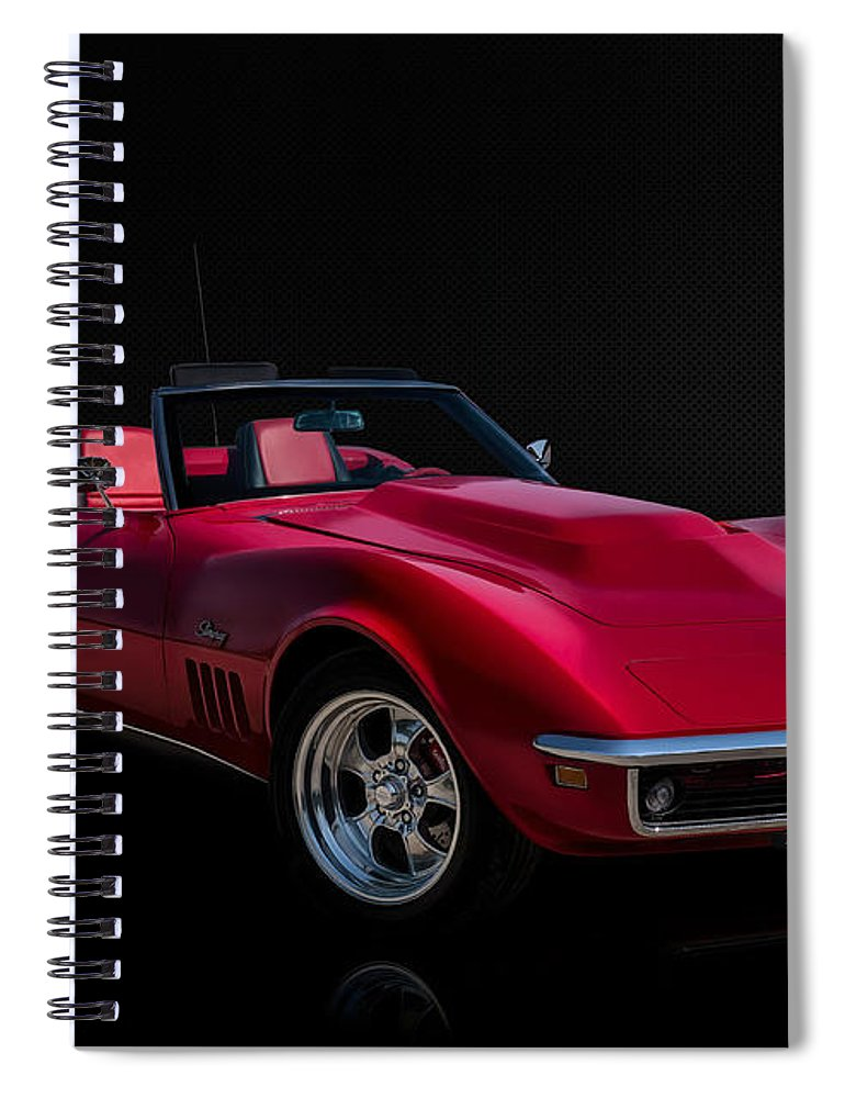 Red Spiral Notebook featuring the digital art Classic Red Corvette by Douglas Pittman