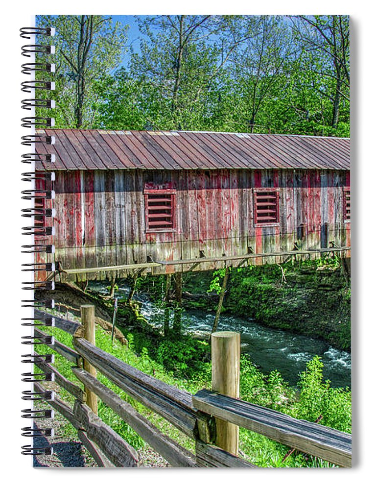 Clifton Mill Covered Bridge Yellow Springs Ohio Spiral Notebook