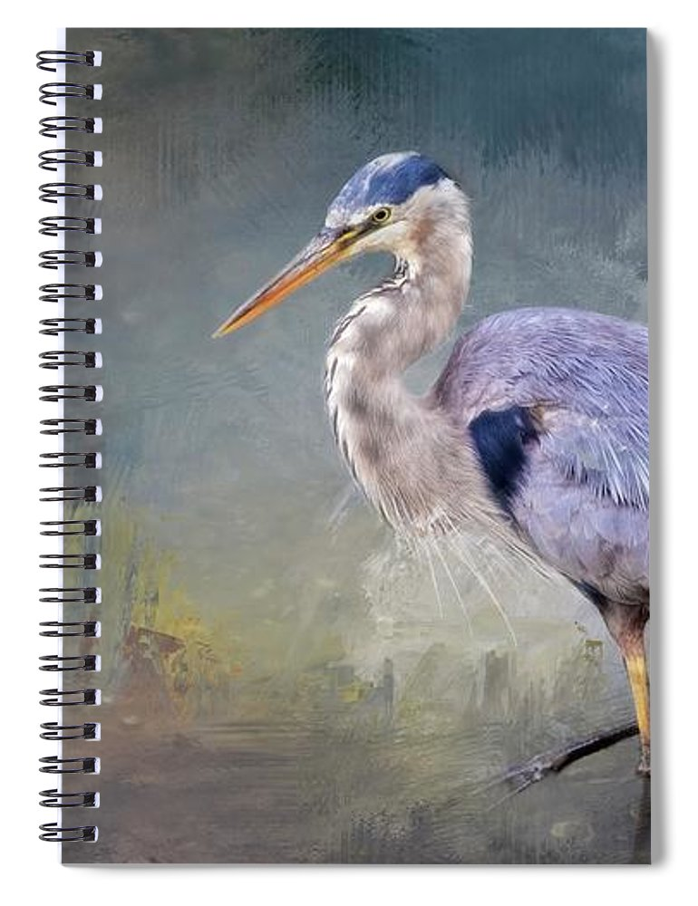Great Blue Heron Spiral Notebook featuring the photograph Closing-in, Great Blue Heron by Zayne Diamond Photographic