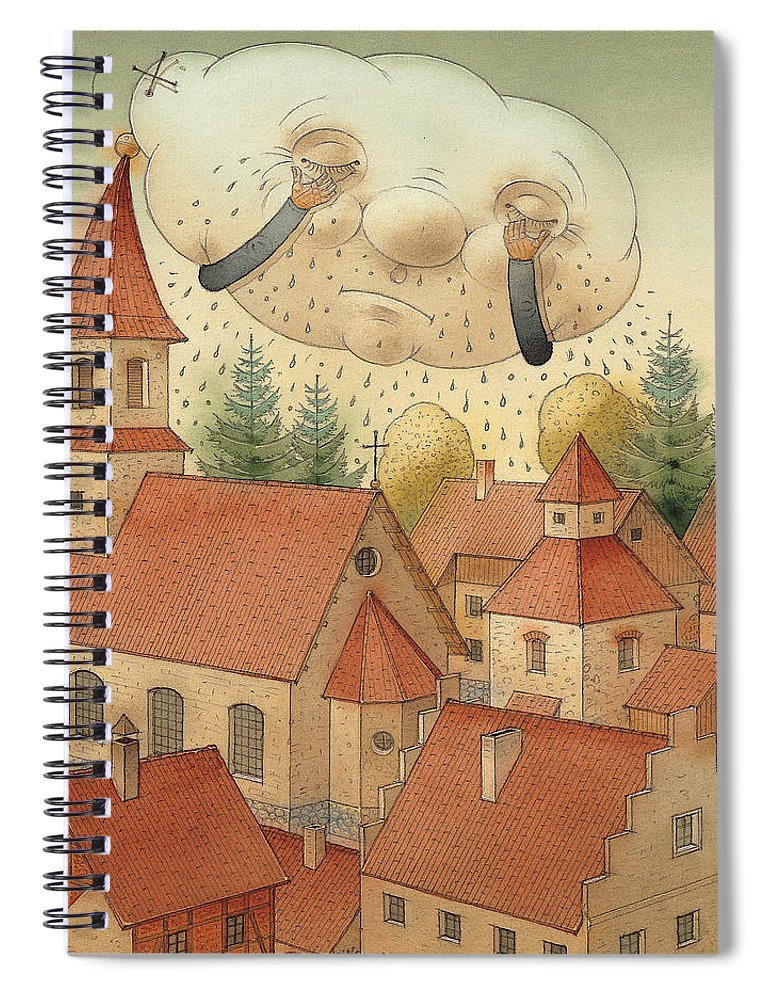 Cloud Town City Rain Roof Spiral Notebook featuring the painting Cloud by Kestutis Kasparavicius